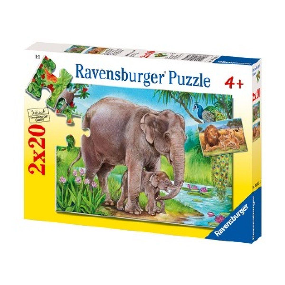 Puzzle Sloni a Lvi 2x20
