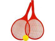 Raketa plážová střední soft tenis barevný červené