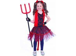 Rappa Dětský kostým čertice s ocasem velikost M