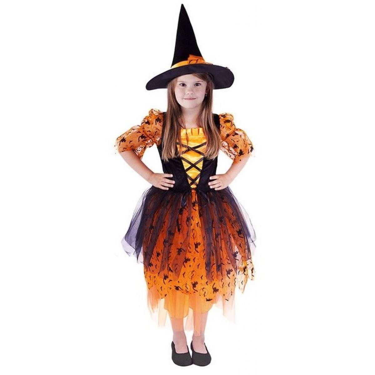 Rappa Dětský kostým Čarodějnice s oranžovým kloboukem vel. M