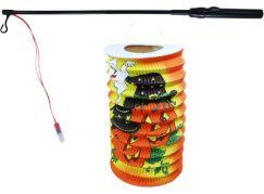 Rappa Lampion dýně Halloween 15 cm se svítící hůlkou