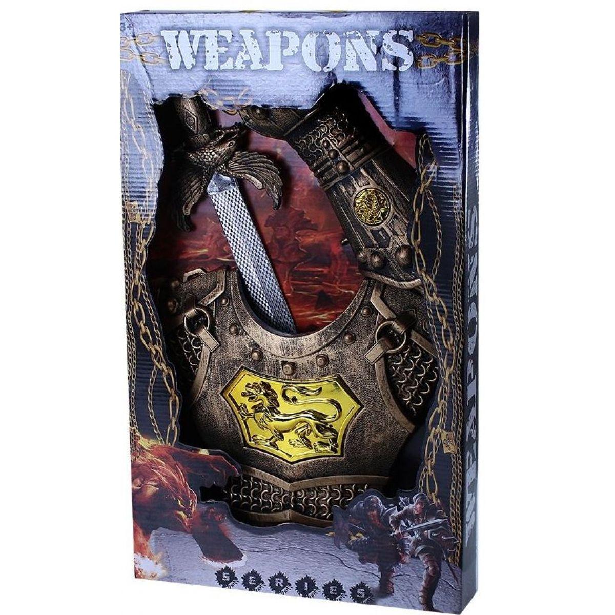 Rappa sada rytířská s mečem, štítem na hruď a ochranou na ruku