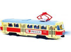 Rappa Tramvaj, která hlásí zastávky česky Praha