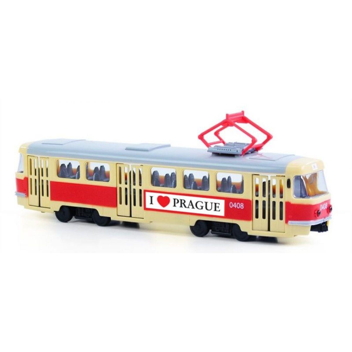 Rappa tramvaj plastová s funkčními dveřmi 28 cm Praha
