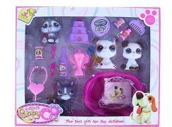 Rappa Zvířátka s doplňky 4 ks růžový pelíšek a šedí a bílý pejsci