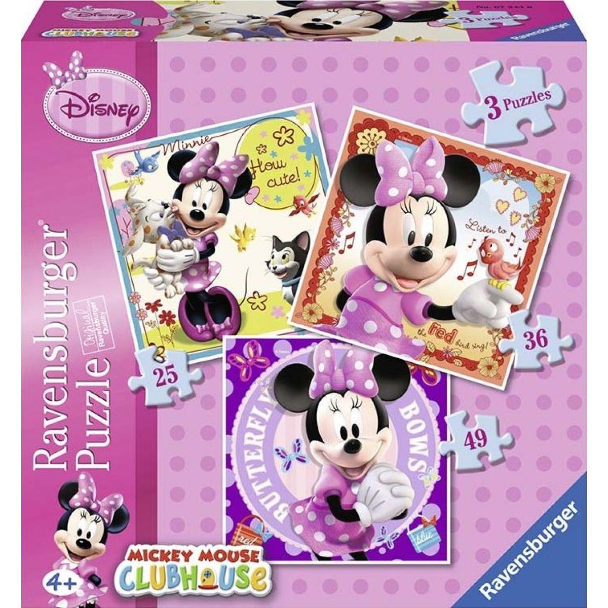 Ravensburger Disney Minnie Mouse 3 in a Box puzzle 25,36,49 dílků