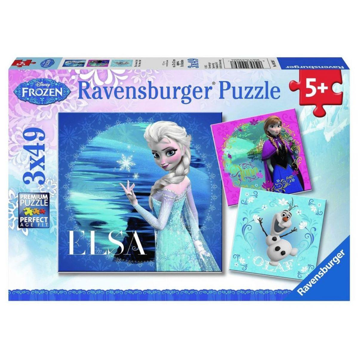 Ravensburger Disney Puzzle Ledové království Elsa, Anna, Olaf 3x49 dílků