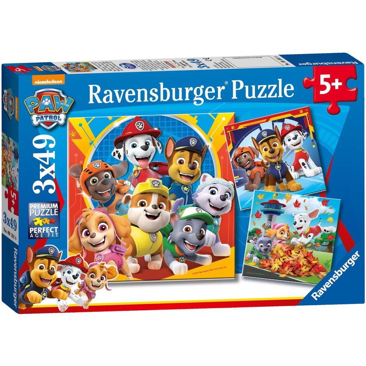 Ravensburger Puzzle 050482 Tlapková patrola Hrátky v listí 3x49 dílků