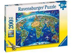 Ravensburger Puzzle 127221 Velká mapa světa 200 XXL dílků