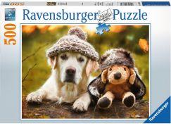 Ravensburger puzzle 147830 Pes s čepicí 500 dílků