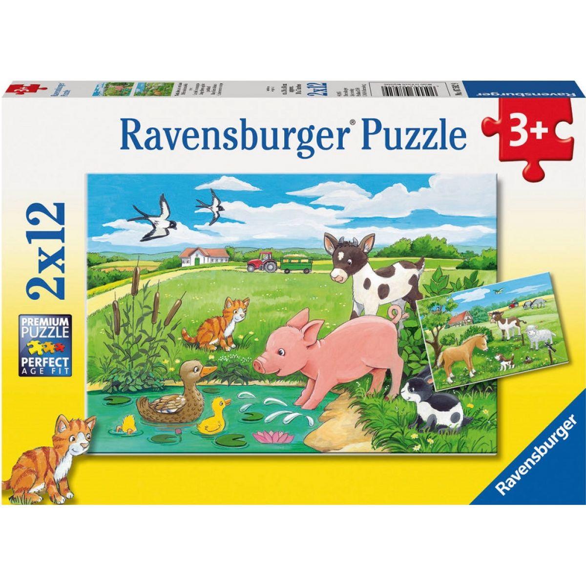 Ravensburger Puzzle 075829 Domácí zvířátka 2x12 dílků
