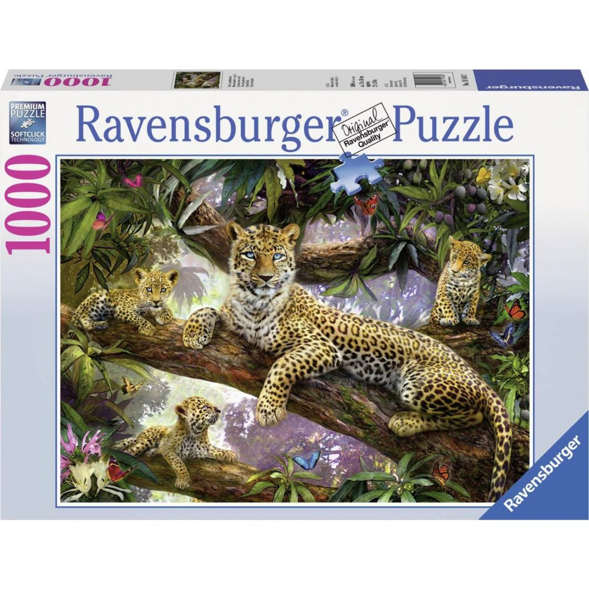 Ravensburger puzzle Hrdá leopardí matka 1000 dílků