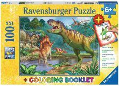 Ravensburger Puzzle Premium Svět dinosaurů 100XXL dílků + Coloring Booklet
