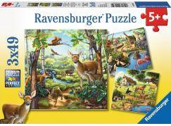 Ravensburger Puzzle Zvířata v zoo, lese nebo v domě 3 x 49 dílků