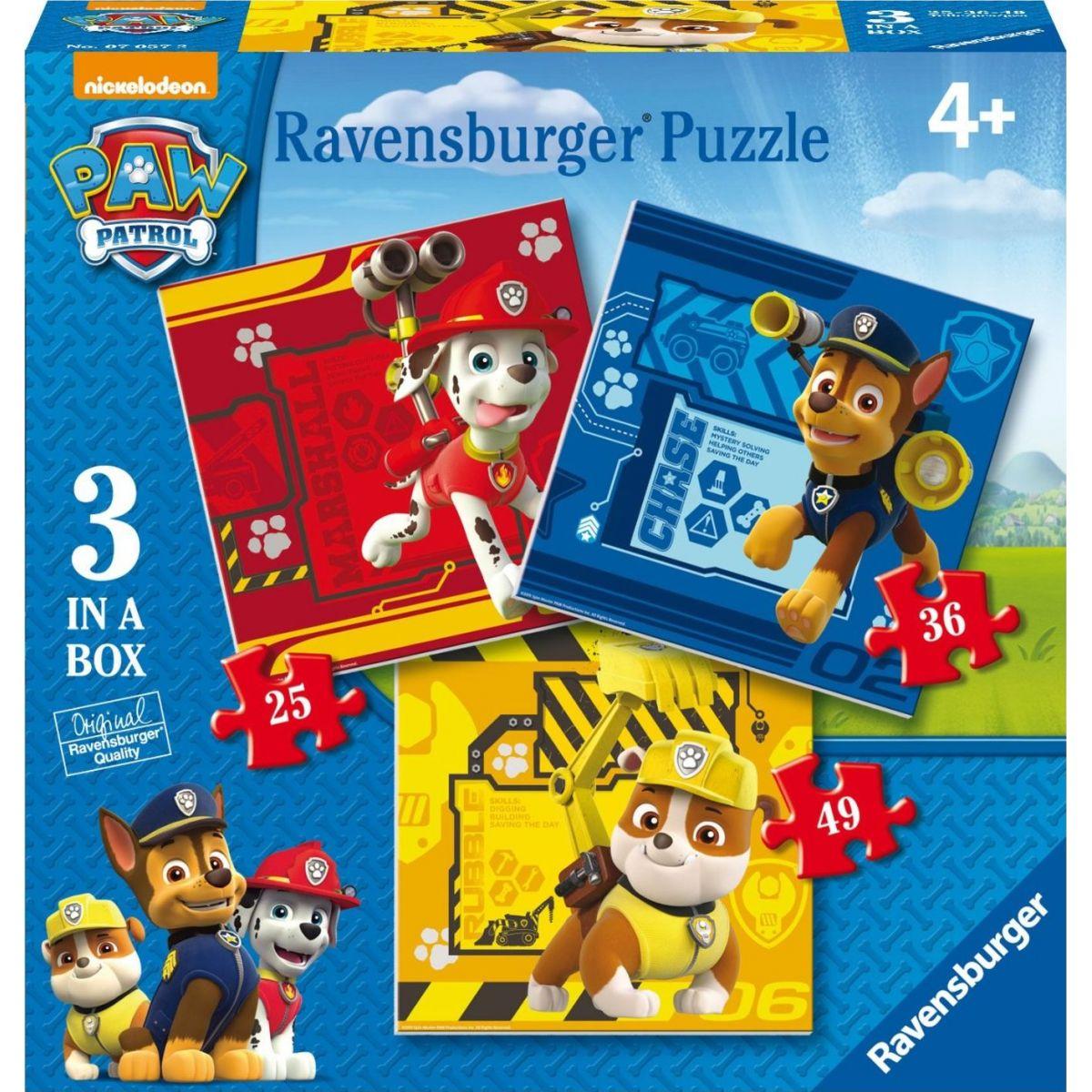 Ravensburger Tlapková Patrola: Rubble, Marshall & Chase puzzle 25,36,49 dílků