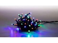 Řetěz světelný 100 LED 5 m barevná světla zelený kabel