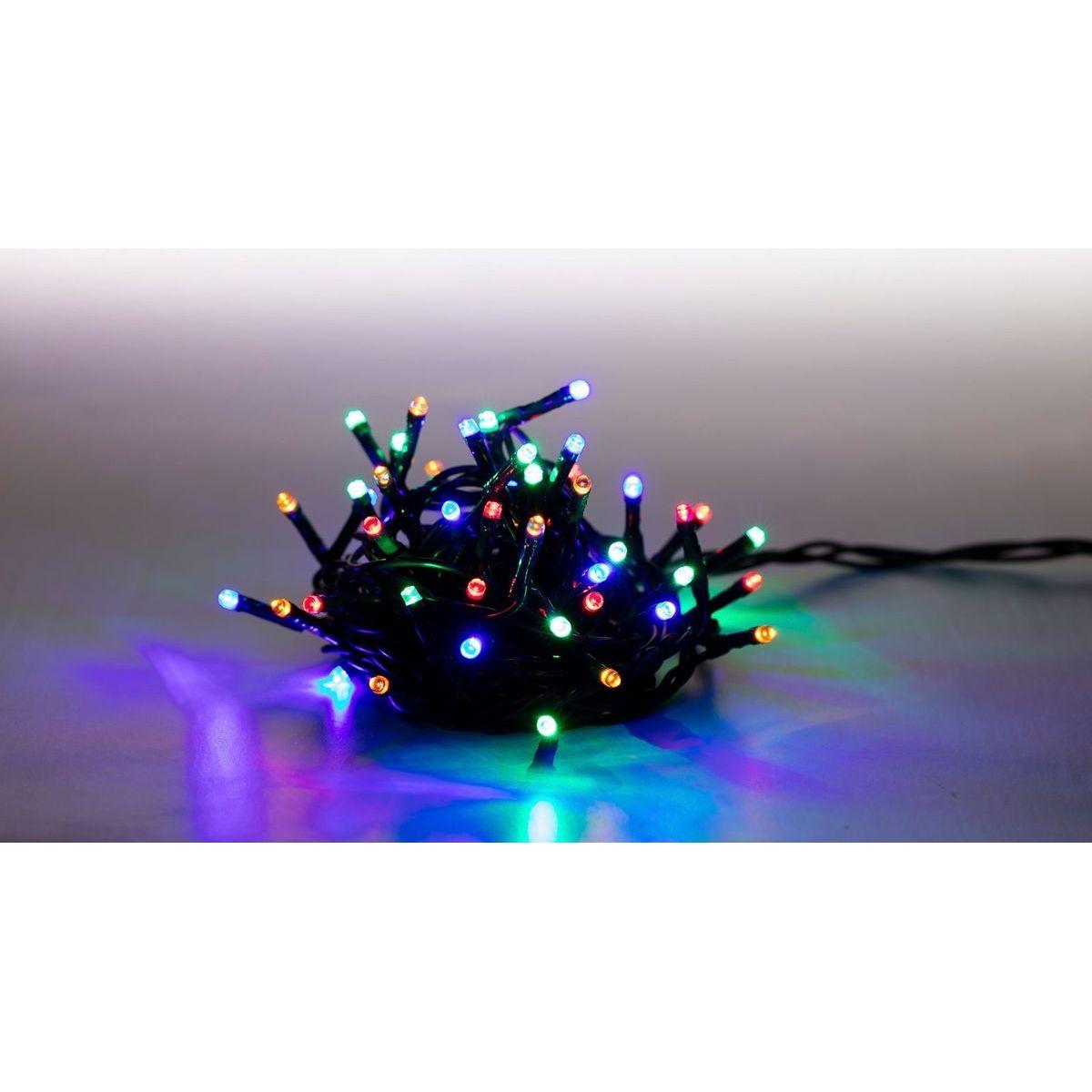 Řetěz světelný 100 LED 5 m barevná zelený kabel 8 funkcí
