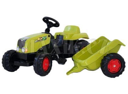 Rolly Toys Šlapací traktor Rolly Kid s vlečkou Světle zelený