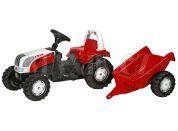 Rolly Toys Šlapací traktor Rolly Kid Steyer s vlečkou Červený