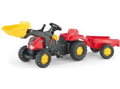 Rolly Toys Šlapací traktor Rolly Kid s přívěsem a nakladačem Červený