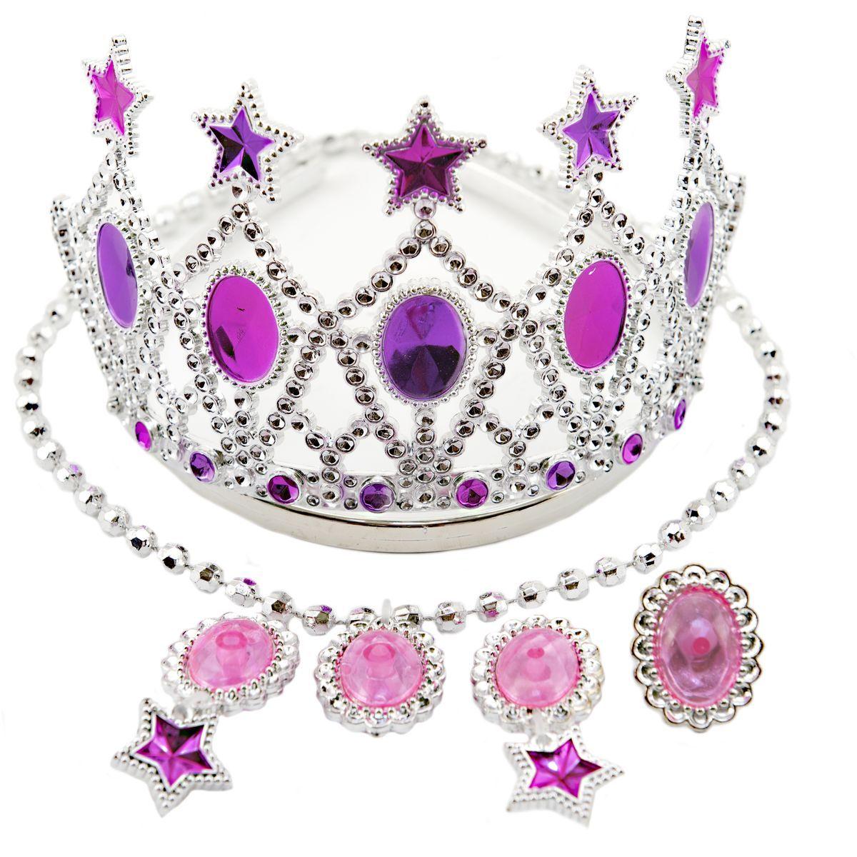 Sada krásy s plastovou korunkou a náhrdelníkem s naušnicemi karneval