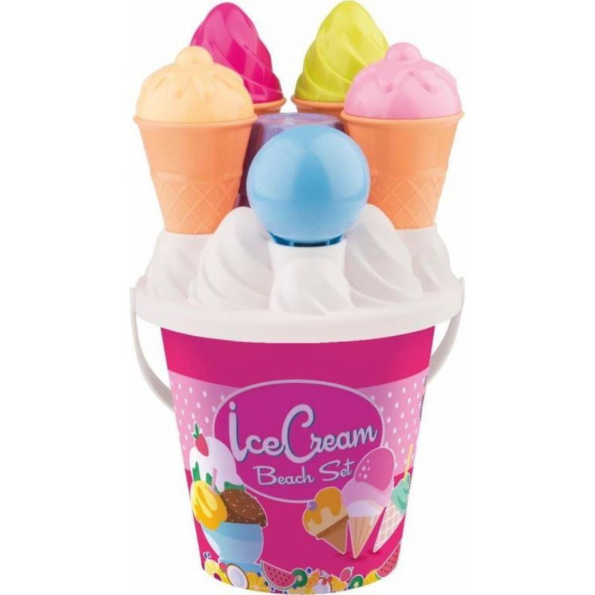 Sada na písek zmrzlina a cup cake růžový kyblík