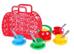 Sada nádobí plastová 3 barvy v košíku červený