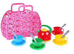 Sada nádobí plastová 3 barvy v košíku růžový