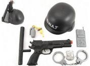 Sada policie SWAT helma + pistole na setrvačník s doplňky