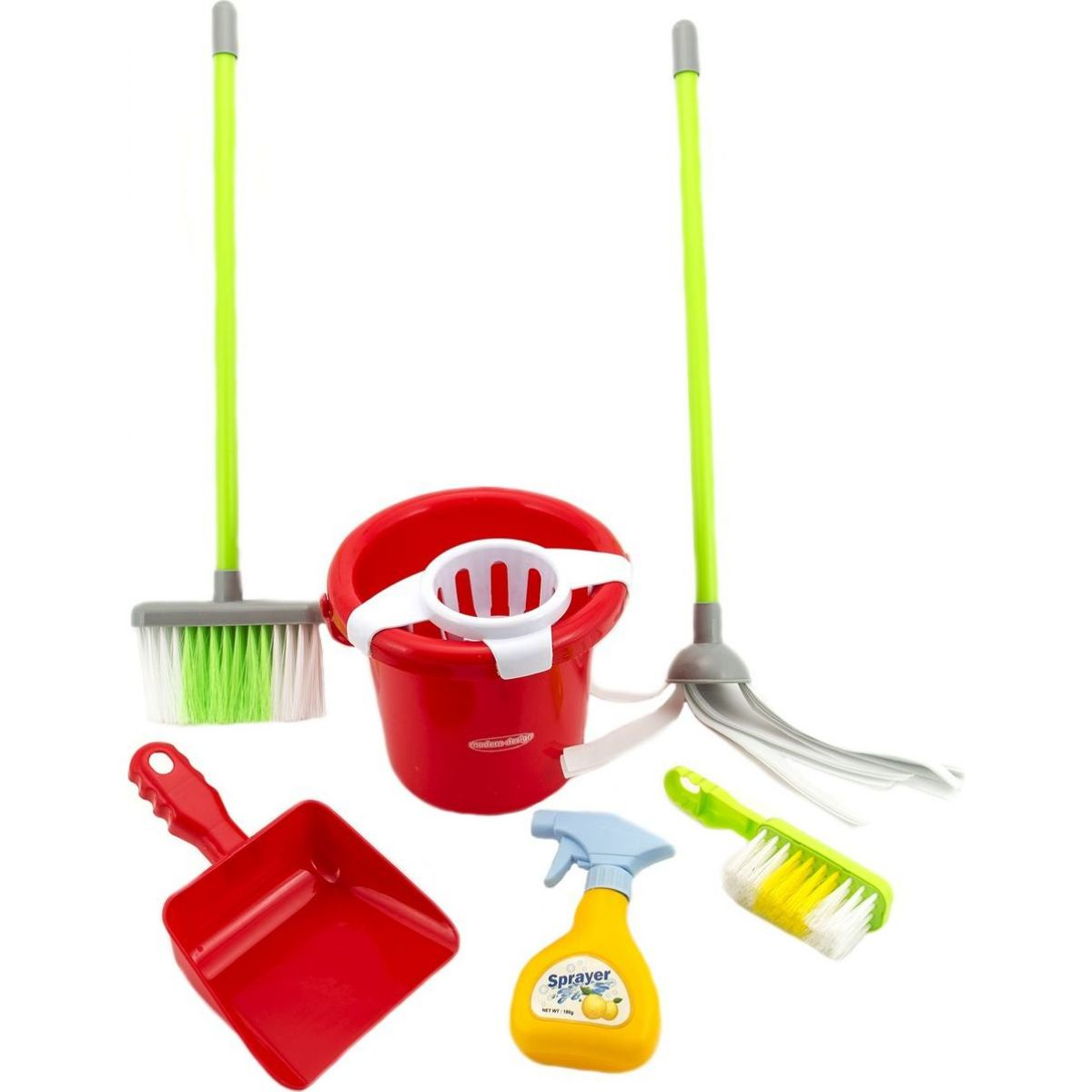 Sada uklízečka se kbelíkem, smetákem, lopatkou a mopem