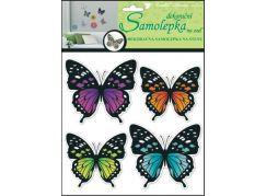 Samolepky na zeď 3D neonoví motýli 20x20x1cm, 4ks