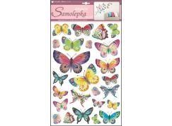 Samolepky na zeď barevní motýli 48 x 29 cm