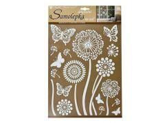 Samolepky na zeď bílé květiny s glitry 35 x 27,5 cm