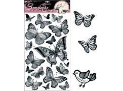 Samolepky na zeď černošedí motýli 60x32cm