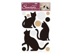 Samolepky na zeď kočky a kolečka s glitry 49x30 cm