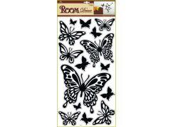 Samolepky na zeď motýli černí, 60x32cm