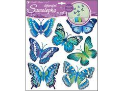 Samolepky na zeď motýli modří 30,5 x 30,5 cm