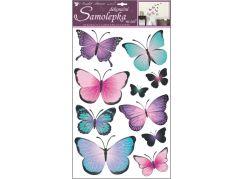 Samolepky na zeď motýli modrofialoví 50 x 32 cm
