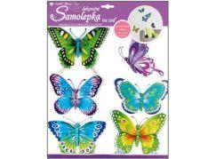 Samolepky na zeď motýli modrozelení s pohyblivými křídly 30,5x30,5cm