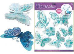 Samolepky na zeď motýli světle modří se stříbrnými glitry, 30,5x30,5cm