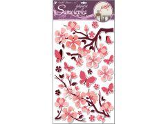 Samolepky na zeď s glitrem, 50x32 cm, růžová větev