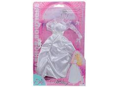 Šaty pro panenku Steffi Svatební stříbrná korunka