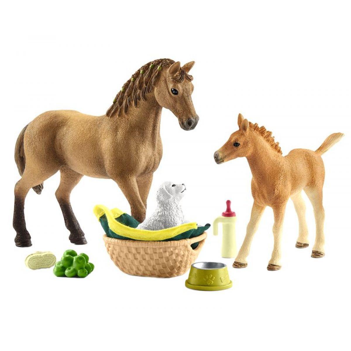 Schleich 42432 Kůň s hříbětem a štěňátkem
