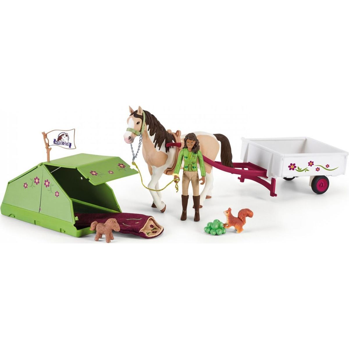Schleich 42533 Sarah s koníkem a zvířátky kempují