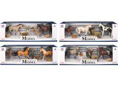 Series Model Svět zvířat, 2 koně, hříbě a figurka