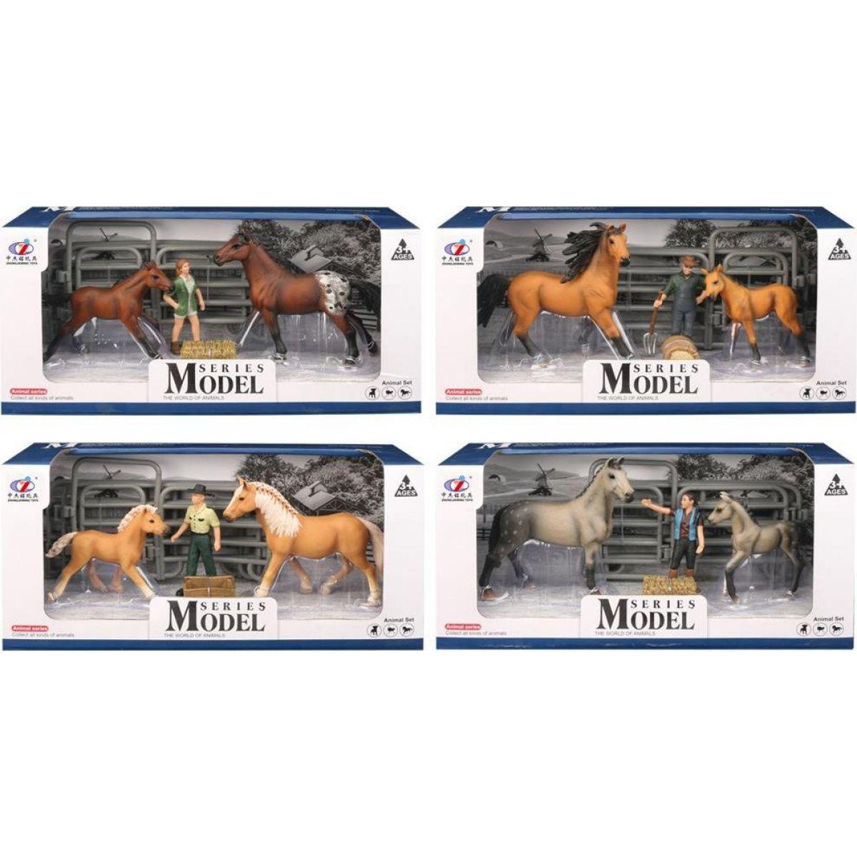 Series Model Svět zvířat sada 2, kůň a hříbě s figurkou