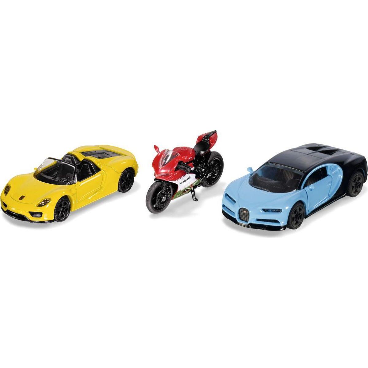 Siku 6313  set 2 sportovní aut a motorka