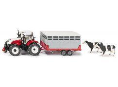 Siku Farmer 3870 Traktor Steyr s vlekem na přepravu zvířat