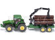 Siku Farmer Traktor John Deere s lesním přívěsem 1:50