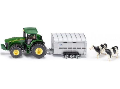 Siku Farmer Traktor John Deere s přívěsem pro přepravu dobytka 1:50